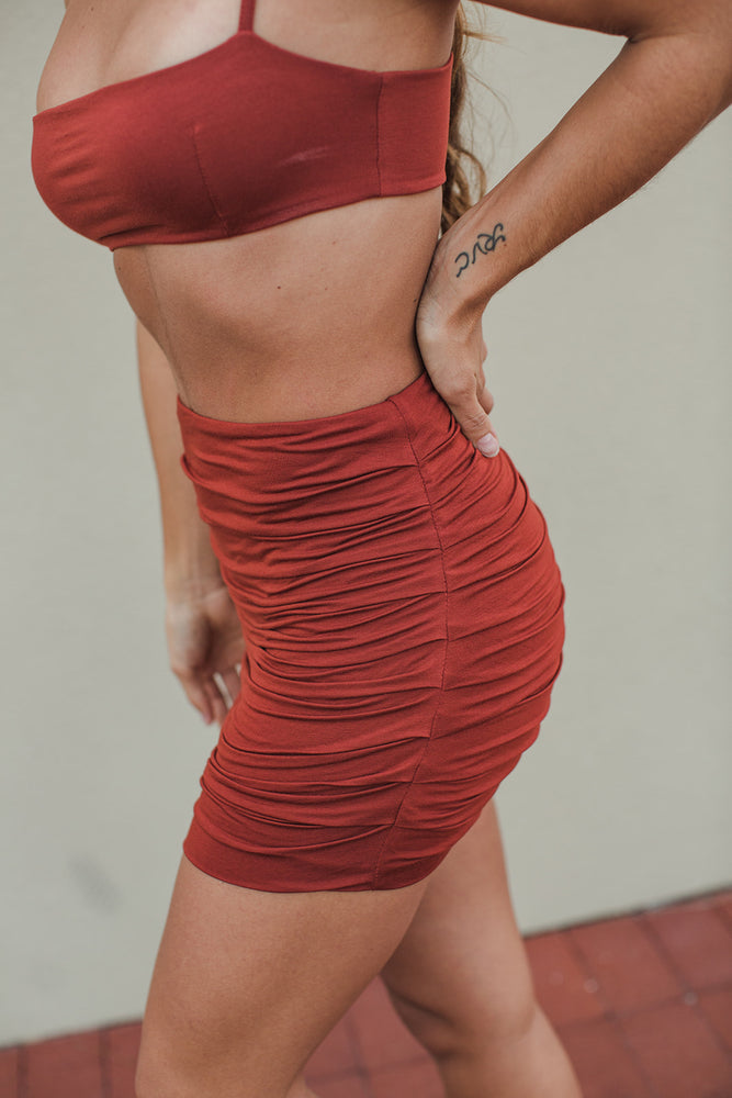 Load image into Gallery viewer, Cori Gathered Seamless Mini Skirt