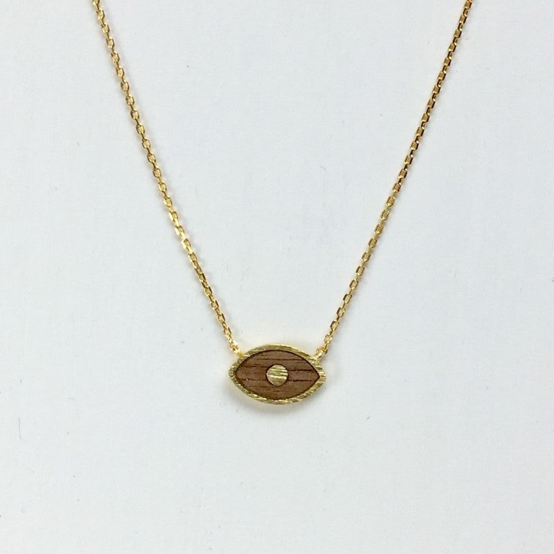 Wood Evil Eye Necklace