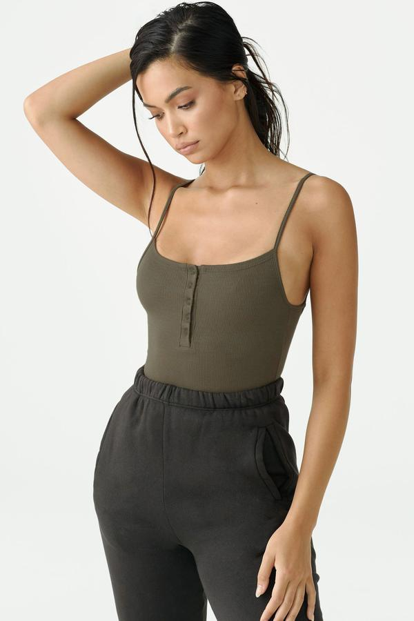 Load image into Gallery viewer, Rib Henley Tank - Army
