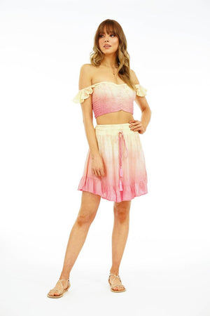 Load image into Gallery viewer, Hollie Crop Top - Dot Gradasi Cream Peach Pink