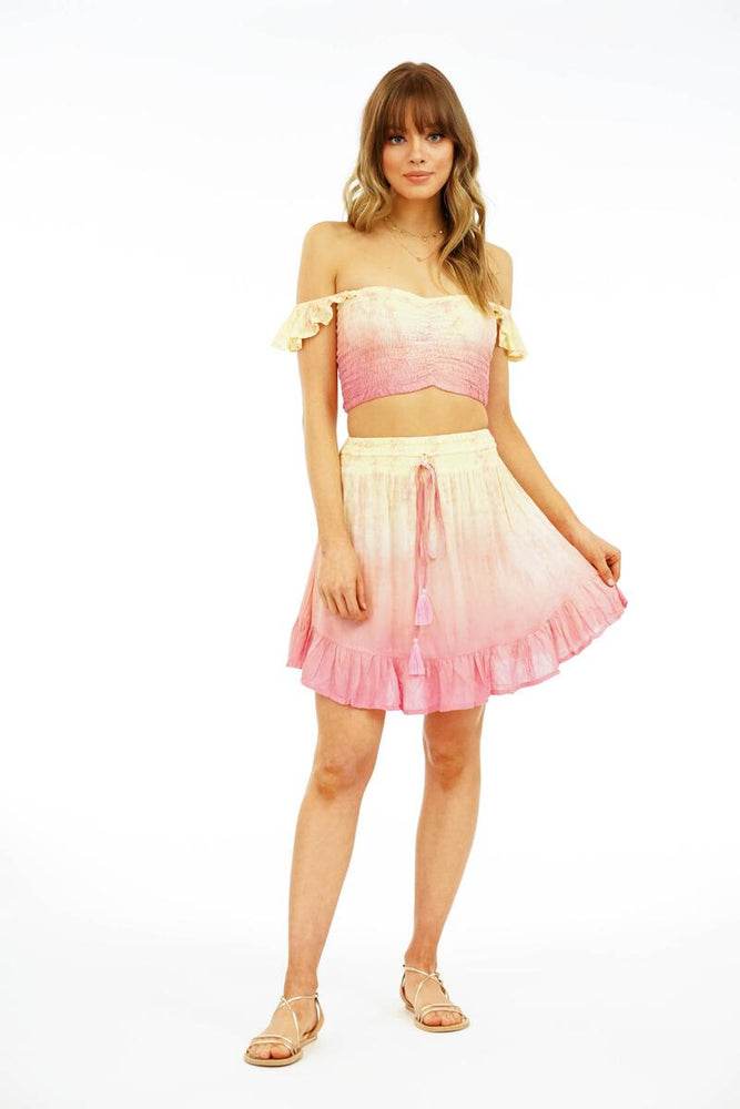 Hollie Crop Top - Dot Gradasi Cream Peach Pink