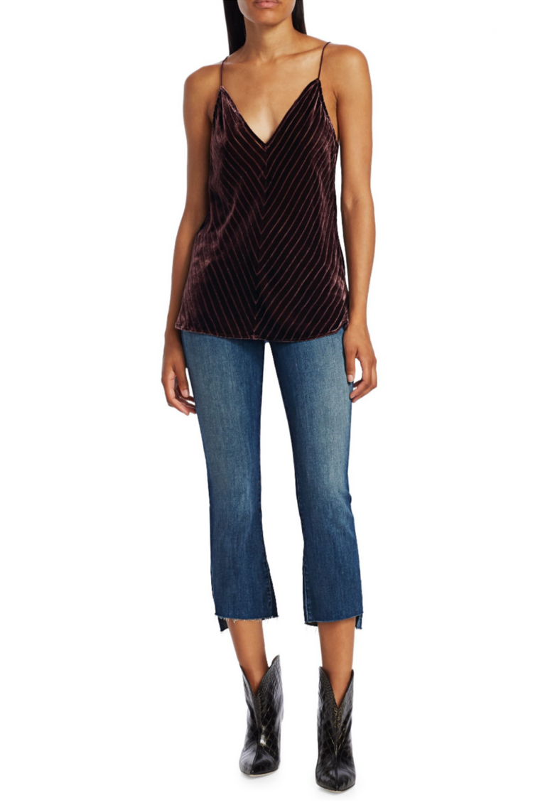 Cami NYC - Olivia Chevron Silk Velvet Tank in Wine
