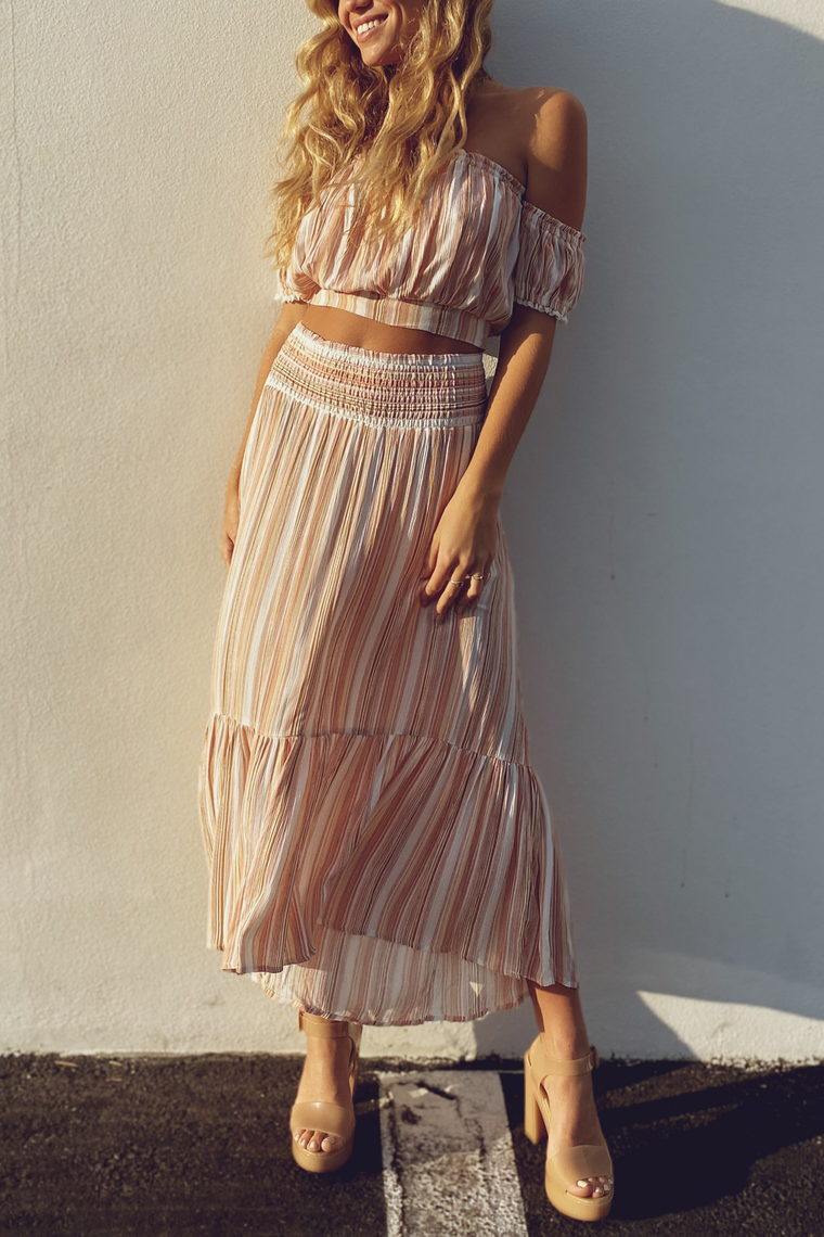 Smocked Waist Striped High Low Skirt
