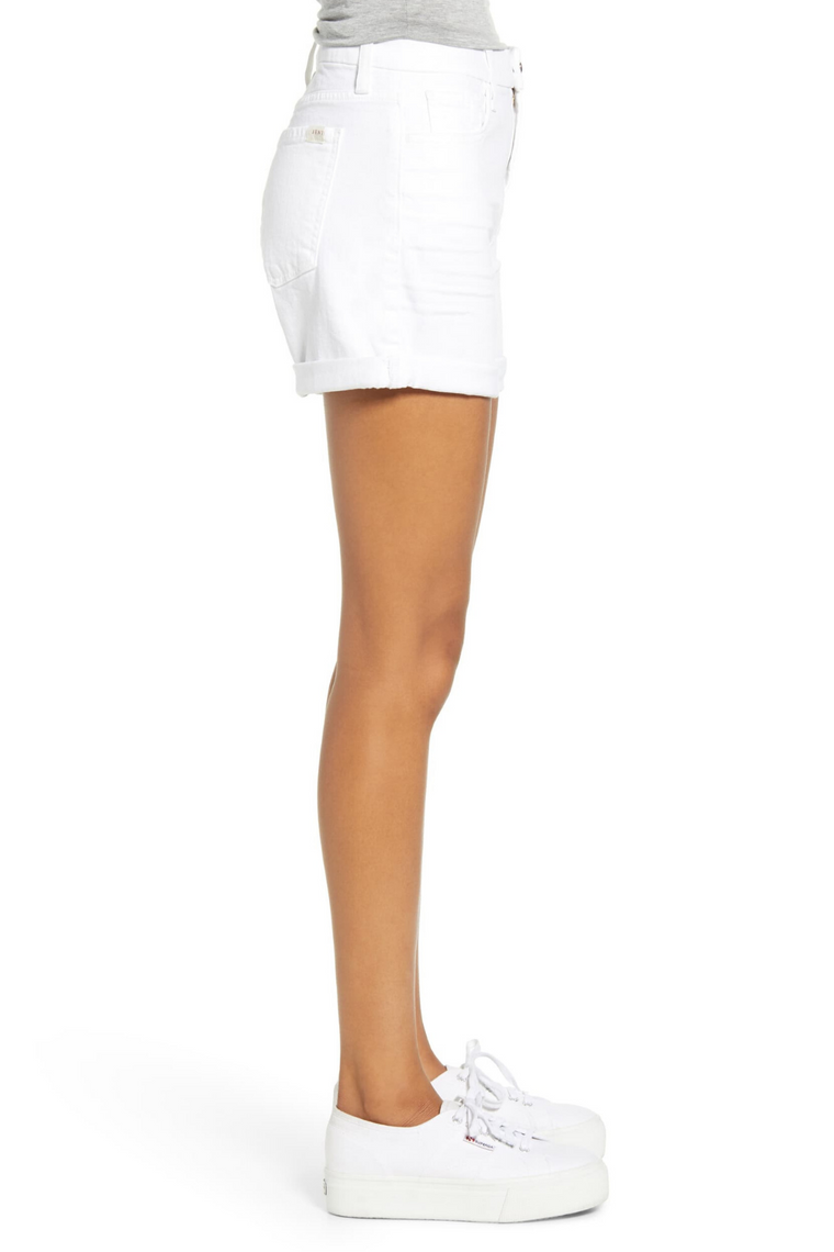 The Roll Cuff Short in White