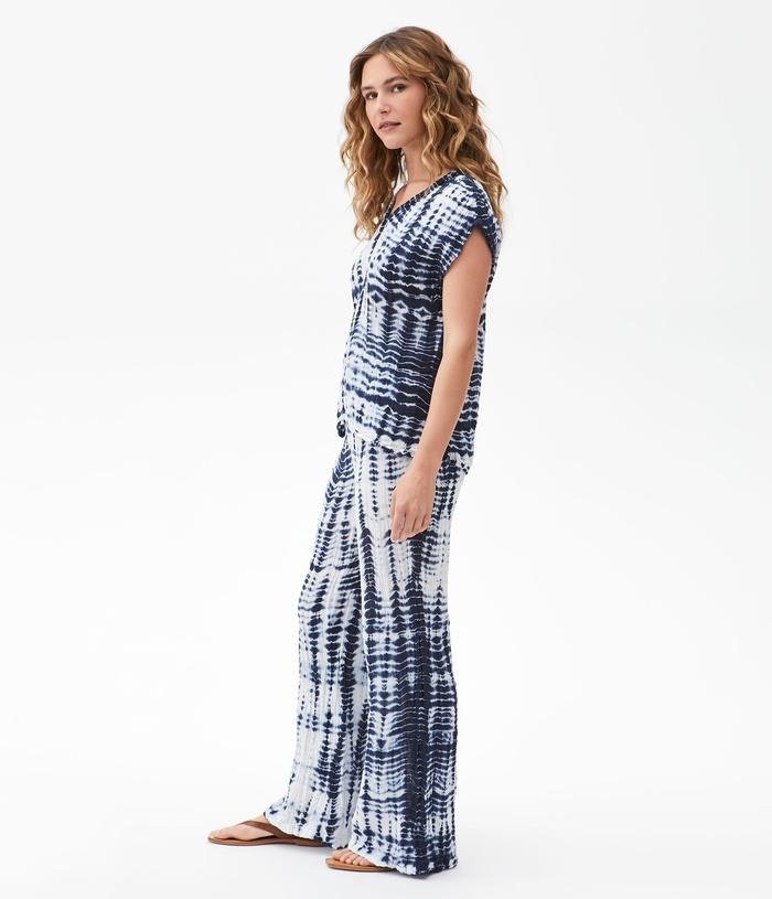 Load image into Gallery viewer, Double Gauze Smocked Wide Leg Pant - Admiral Tie Dye - Full Outfit Side View