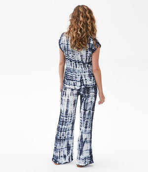 Load image into Gallery viewer, Double Gauze Smocked Wide Leg Pant - Admiral Tie Dye - Full Outfit Back View