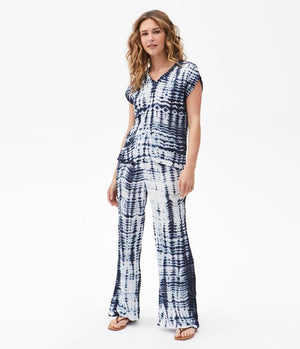 Load image into Gallery viewer, Double Gauze Smocked Wide Leg Pant - Admiral Tie Dye - Full Outfit View