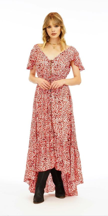 The New Moon Maxi Dress - Floral Dot in Red