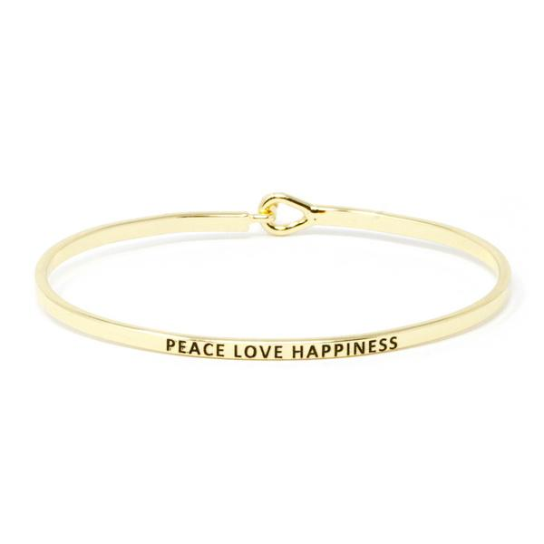 PEACE LOVE HAPPINESS Inspirational Message Bracelet