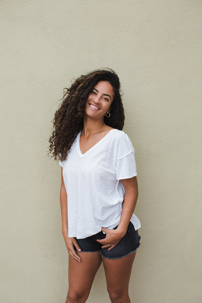 Load image into Gallery viewer, Remy Boxy V Neck Tee - White - Another Alternate View