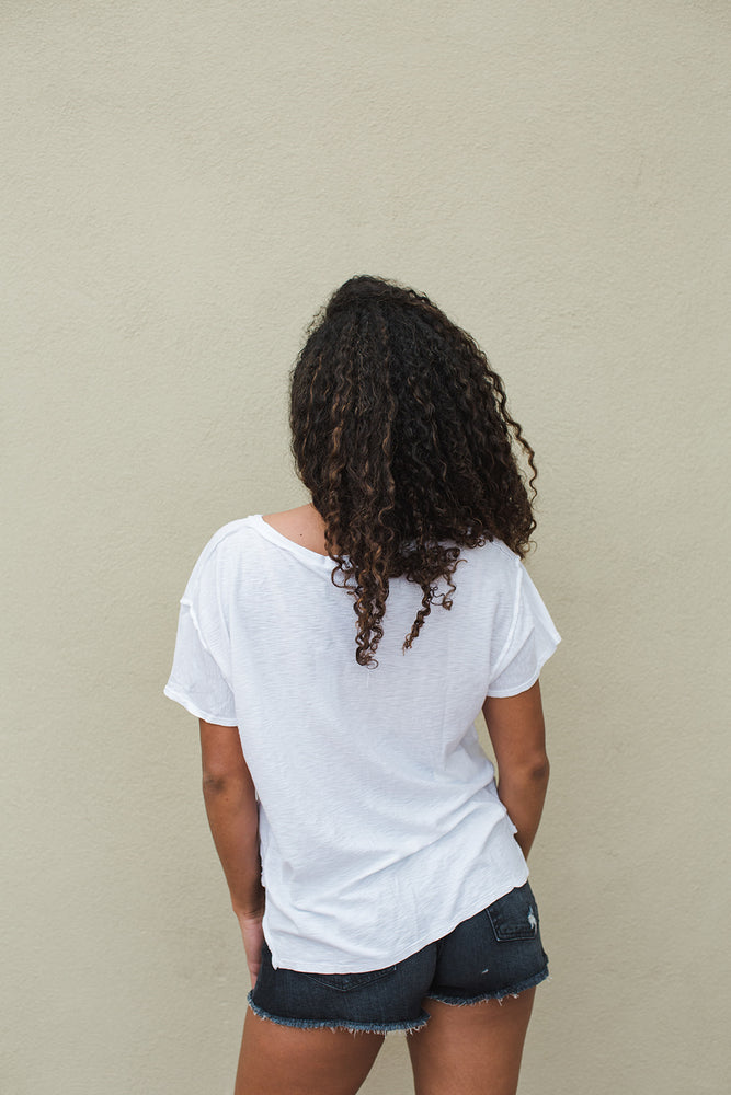 Load image into Gallery viewer, Remy Boxy V Neck Tee - White - Back View