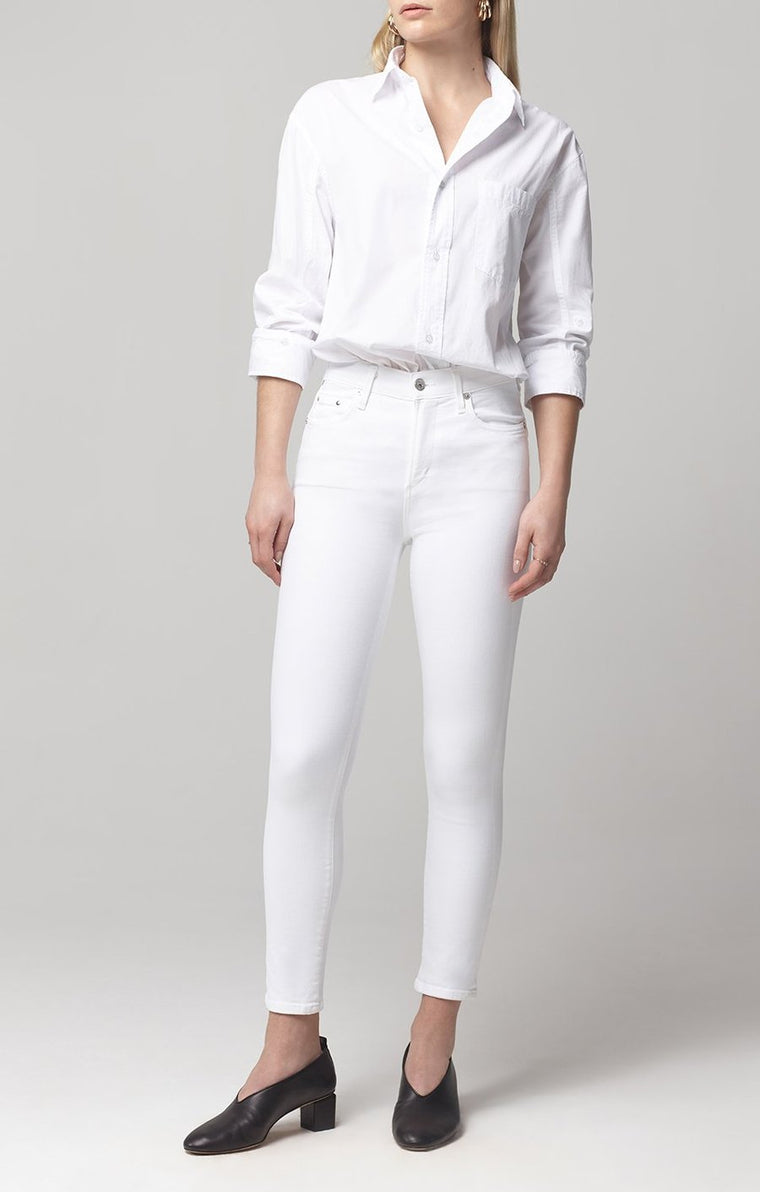 The Rocket Crop Mid-Rise Skinny Jeans - White