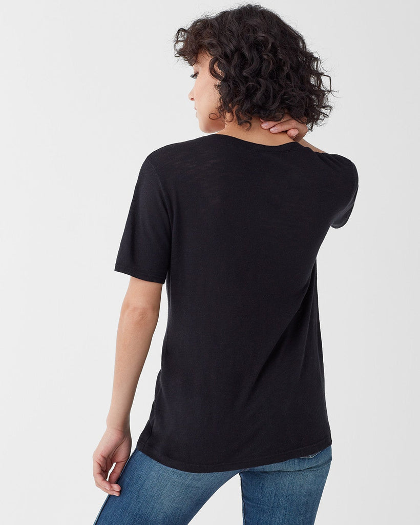 Everly Slub V-Neck Tee - Black - Jaffi's