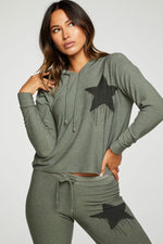 Black Star Cropped Hoodie - Front View