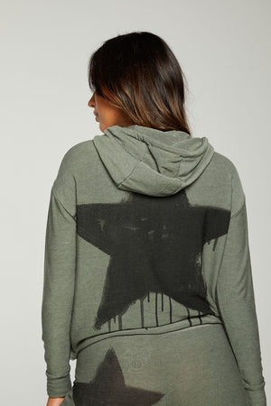Load image into Gallery viewer, Black Star Cropped Hoodie - Back View