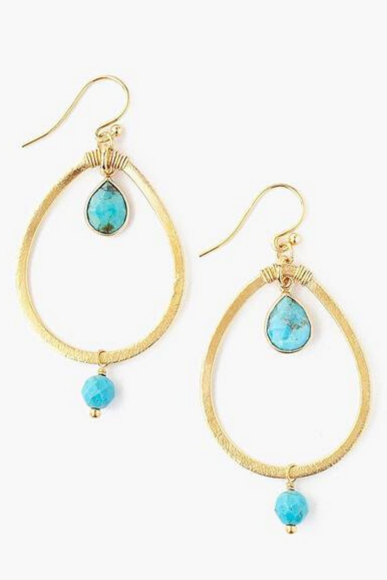 The Teardrop Turquoise Hoop