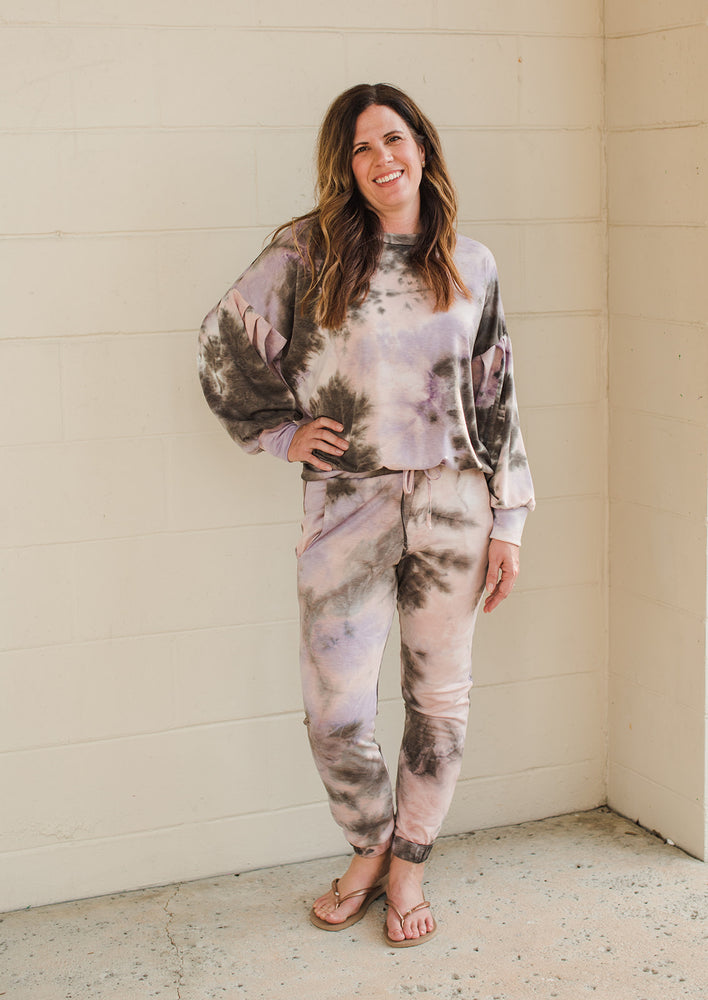Tie Dye Pocket Jogger - Pink/Brown Tie Dye - Full Outfit Front View