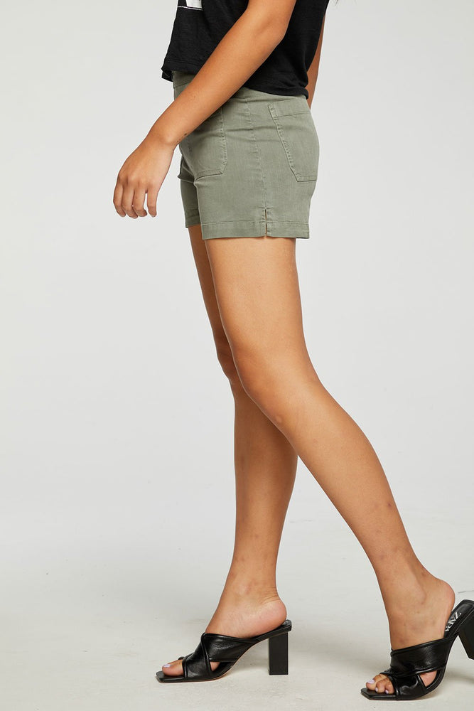 Stretch Twill Paperbag Waist Side Slit Short - Side View