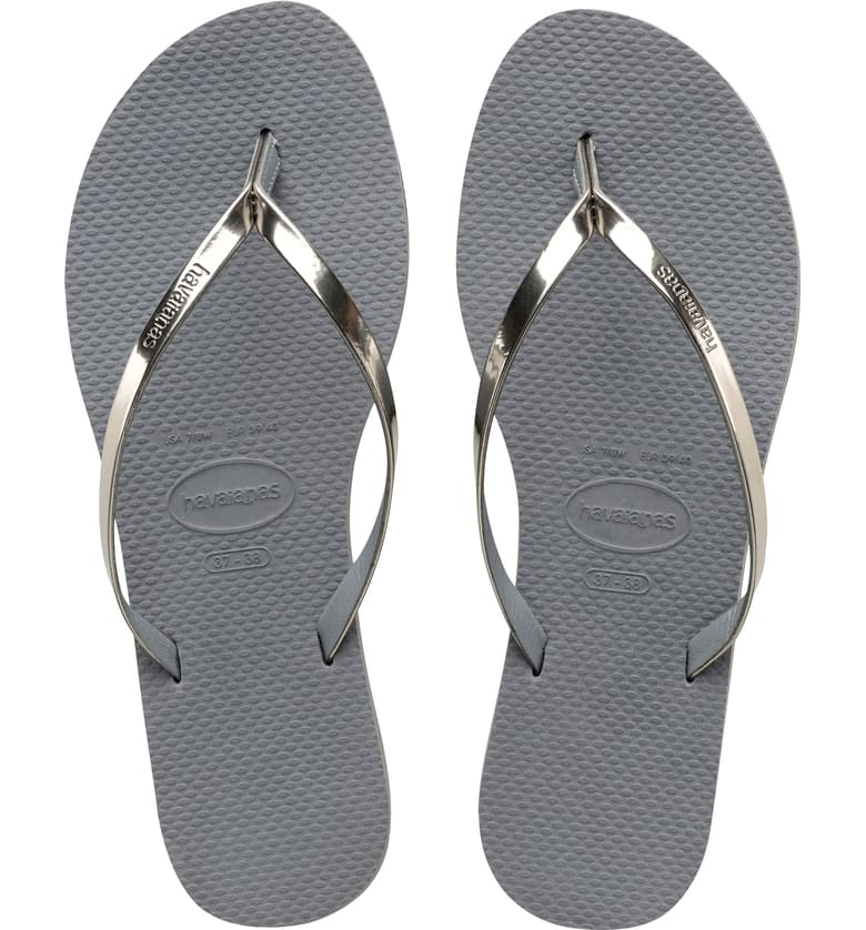 You Metallic Flip Flop - Steel Grey