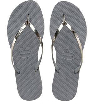 Load image into Gallery viewer, You Metallic Flip Flop - Steel Grey