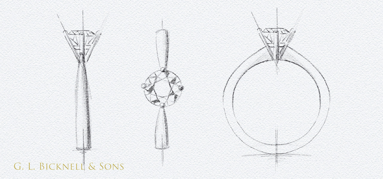 Round 4 claw diamond ring sketch
