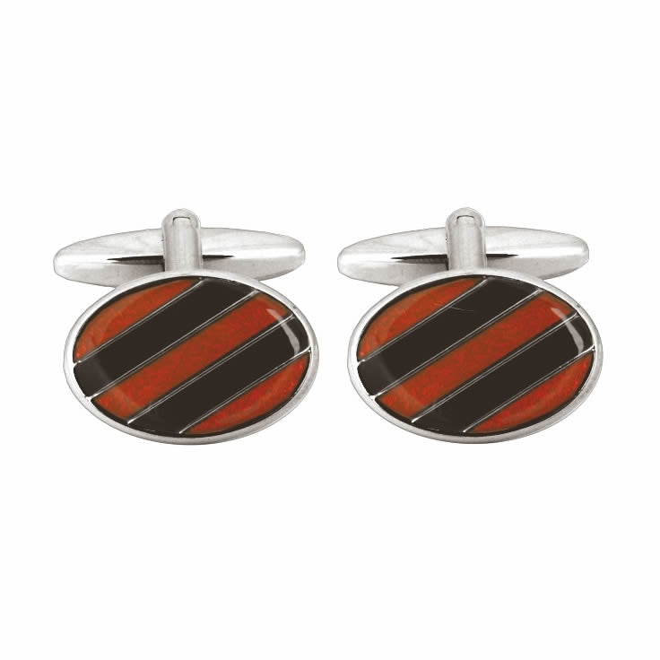 Black & Red Diagonal Stripe Cufflinks