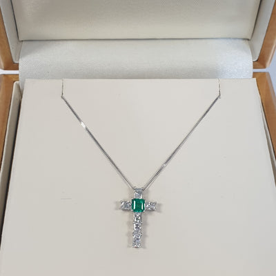Emerald and Diamond Cross Pendant - 23-05-003