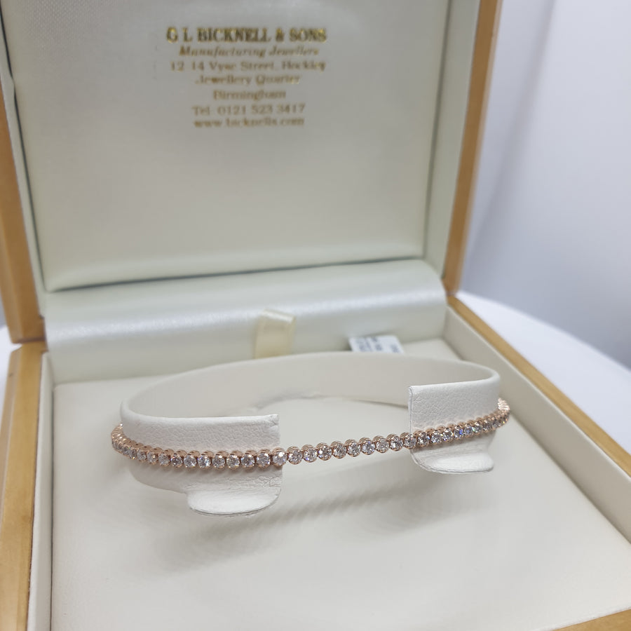 9ct Rose Gold Tennis Bracelet - 11-01-263
