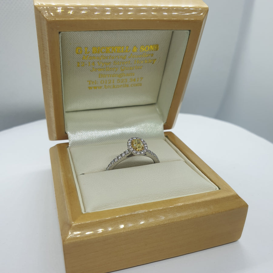 Platinum Oval Cut Yellow Diamond Engagement Ring - 06-01-605
