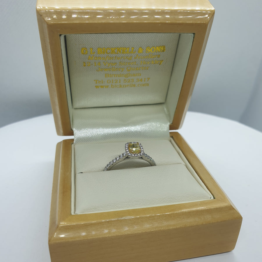 Platinum Cushion Cut Yellow Diamond Engagement Ring - 06-01-589