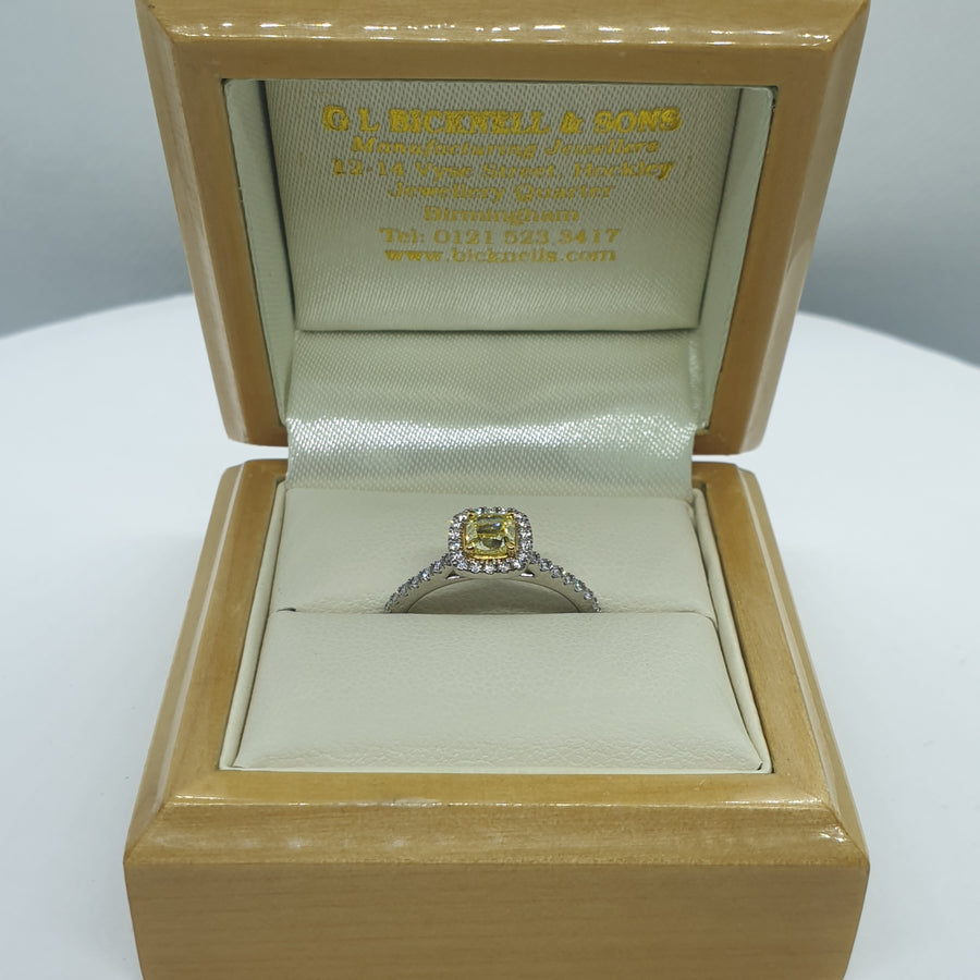 Platinum Cushion Cut Yellow Diamond Engagement Ring - 06-01-592