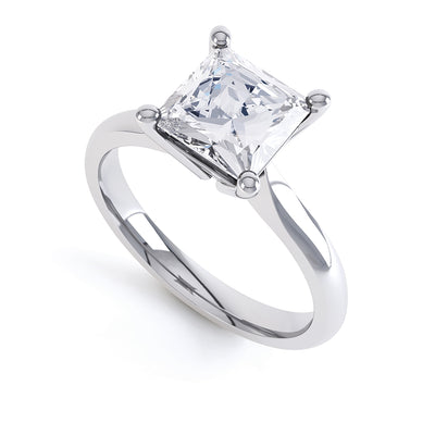 4 Claw Square Diamond Solitaire Ring - BK1004