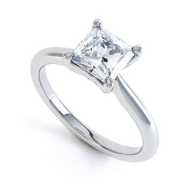 4 Claw Square Diamond Solitaire Ring - BK1003