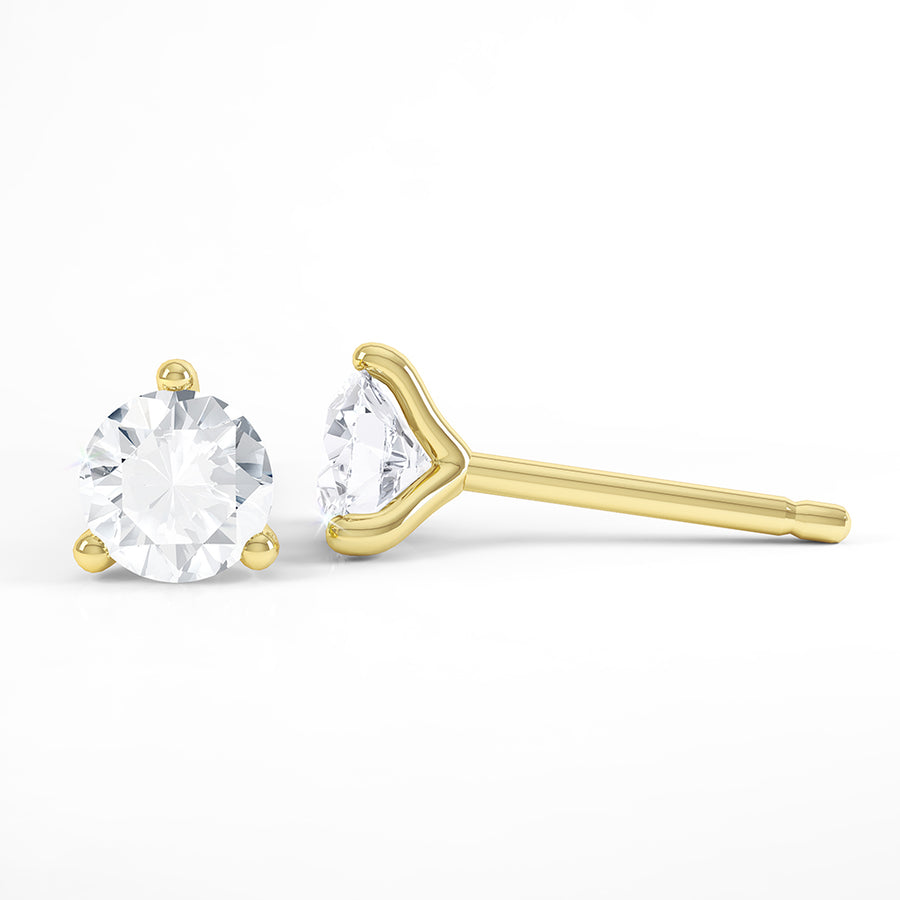 Round 3 Claw Solitaire Diamond Earrings - BDJ1004