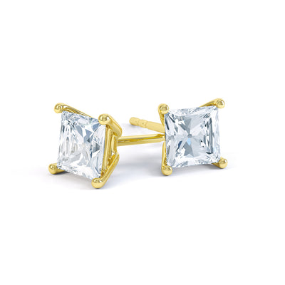 4 Claw Diamond Square Solitaire Earrings - BDJ1001