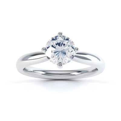 4 Claw Round Diamond Solitaire Ring - BK1006