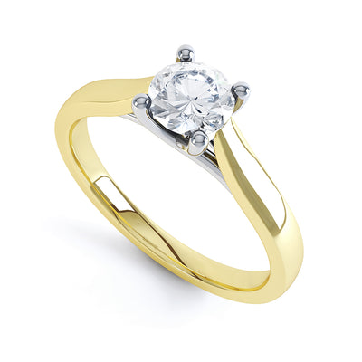 4 Claw Round Diamond Solitaire Ring - BK1014