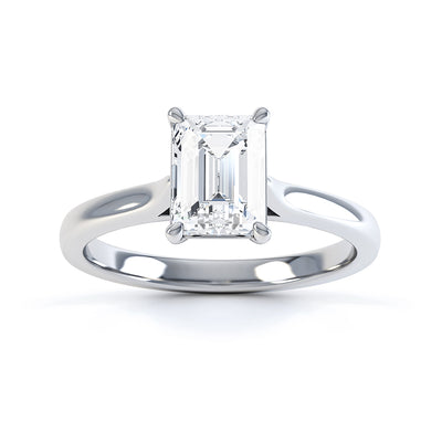 4 Claw Emerald Diamond Solitaire Ring - BK1017