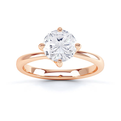 4 Claw Round Diamond Solitaire Ring - BK1001