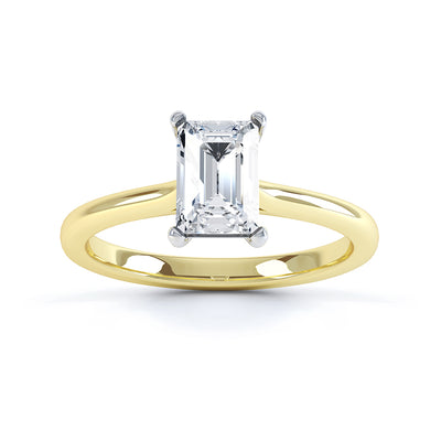 4 Claw Emerald Diamond Solitaire Ring - BK1013