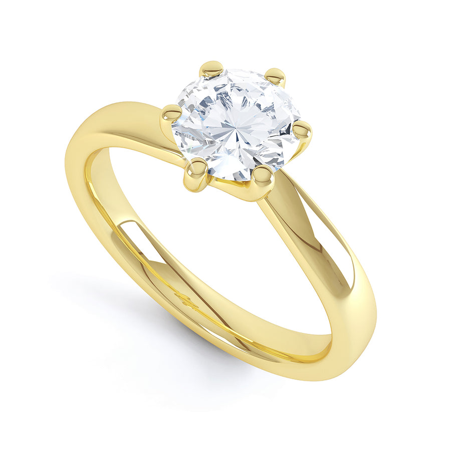6 Twist Claw Diamond Solitaire Ring - BK1008