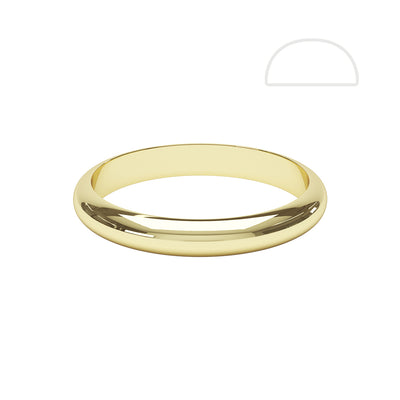 Gents D Shaped Wedding Ring - BKW1002