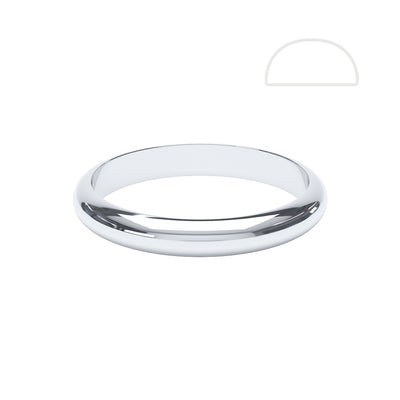 Ladies D Shaped Wedding Ring - BKW1002