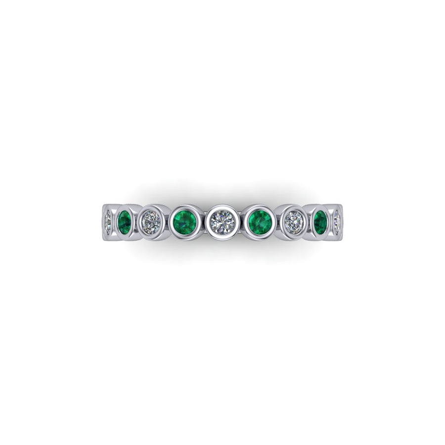 Emerald & Diamond Eternity Gemstone Band - SCS03208EMR