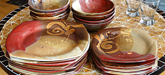 Pottery dinnerware from Weaverville, near Asheville, NC
