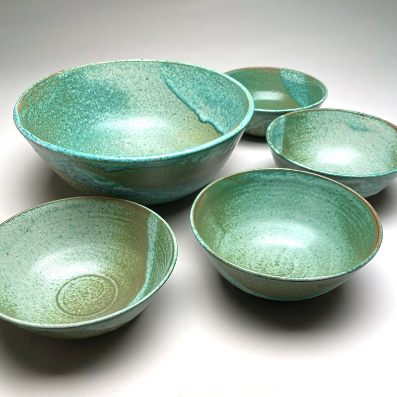 Medium Bowl Set in Green Matte
