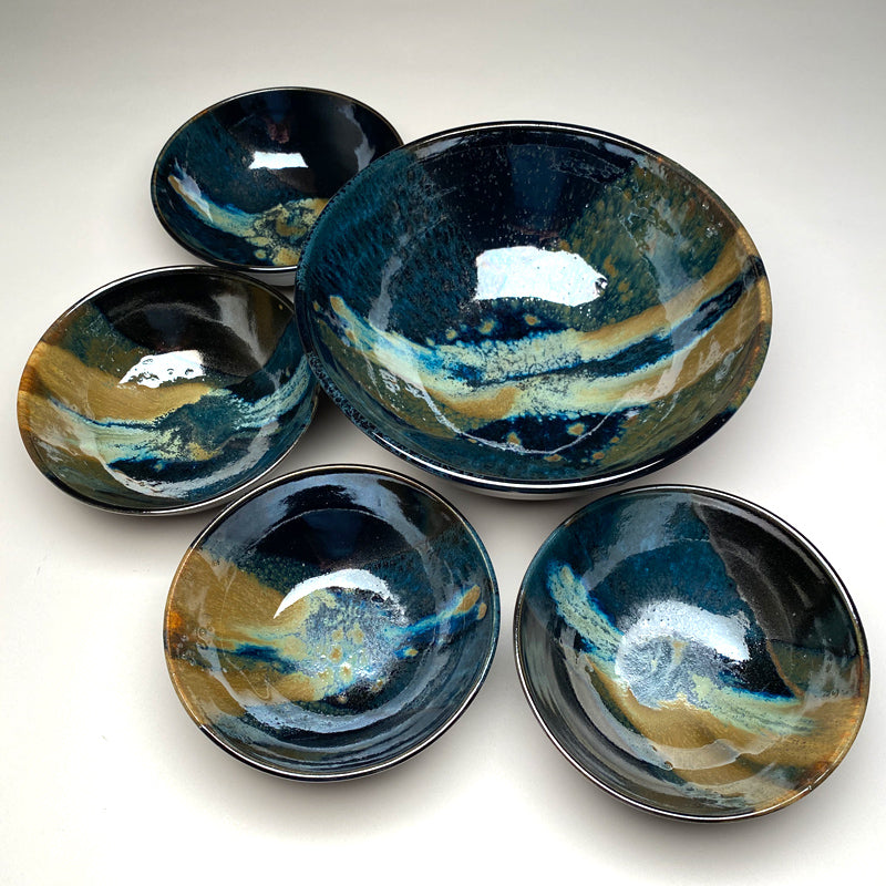 Medium Bowl Set Black and Teal