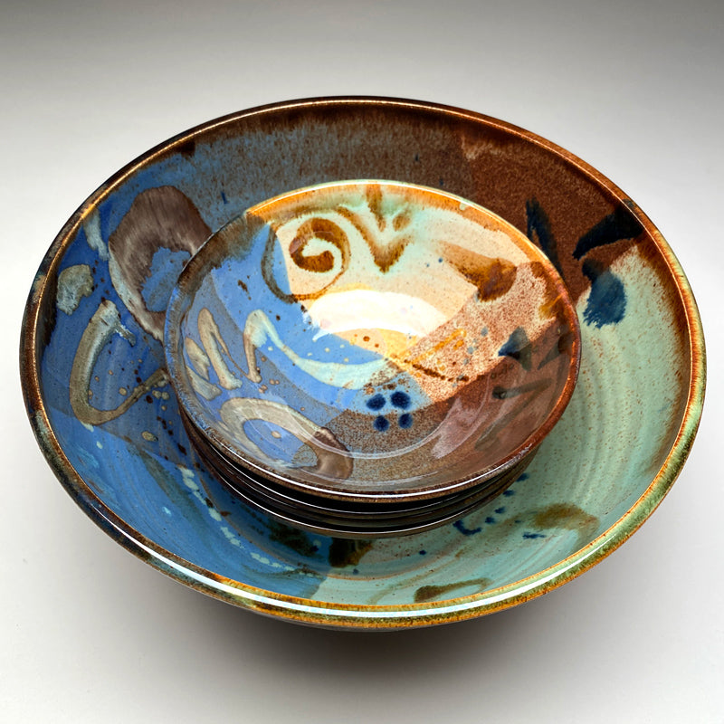 Large Bowl Set Multi Glaze