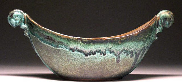 Boat Bowl in Green Matte Glaze