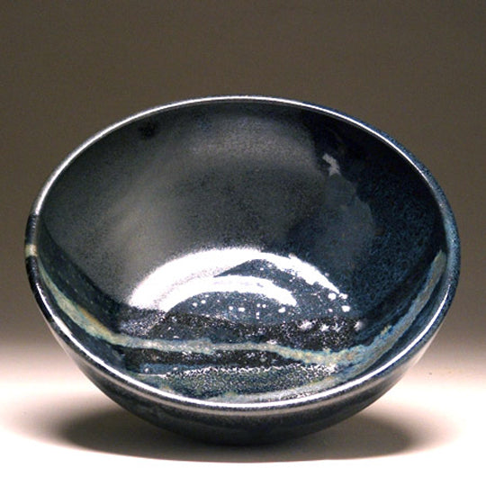 Large Serving Bowl in Black and Teal Glaze